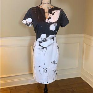 Piazza Sempione Cotton Black & White Sheath Dress